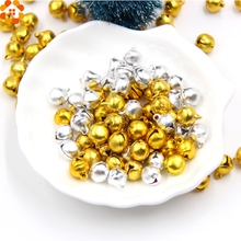 100PCS 10MM Jingle Bells Gold&Sliver Iron Loose Beads with Sounds Festival Christmas Party Decoration DIY Crafts Accessories