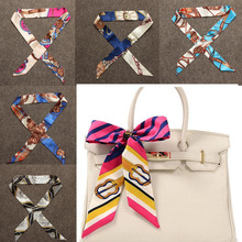 New Small Silk Twilly Scarf Ribbon Hair Band Bags Handle Decoration Bow Tie Multifunction Ribbon For Women Fashion High Quality(China)