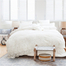 Korean Style Girls White Lace Bedding set Egyptian Cotton 4/7pc King Queen Size Luxury Wedding Bed set bedsheet set Duvet cover
