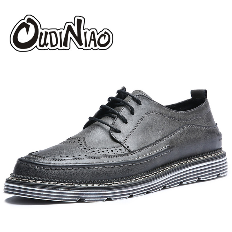 Mens Shoes Casual British Vintage Brogues Footwear Lace Up Shoes Men Artificial Leather Mens Shoes Fashion Zapatillas Hombre<br>