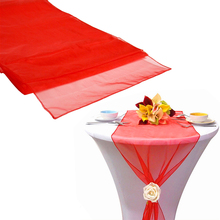 "12""x108"" / 30*275cm 10pcs High Quality Hot red Organza Table Runner for Wedding decoration Banquet Venue Decoration(China)"