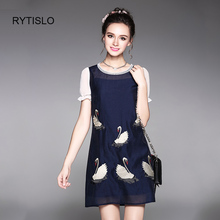 RYTISLO Luxury Beading Embrodiery Swan Summer Dress For Women Fashion Puff Sleeve O-Neck Above Knee Ladies Dresses