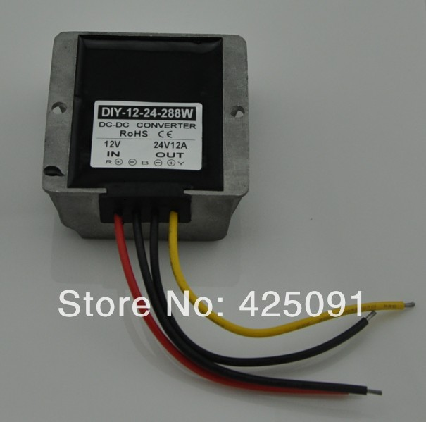 DC 12V (9V-23V)Step up to 24V 12A 288W Waterproof DC/DC Converter Regulator RoSH CE<br>