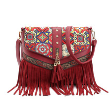 2017 Tassel Embroidery Ethno Crossbody Bags For Women Leather Brand Small Summer Luxury Printing Bag Ladies Vintage High Quality(China)