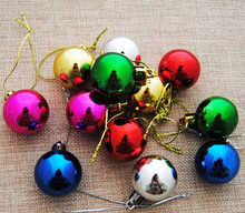 Colorful glitter plastic cheap Christmas ornaments ball for Christmas tree(China)