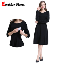 Emotion Moms Solid Long Sleeve Maternity Clothes Patchwork Nursing Breast feeding Dresses for Pregnant Women Long dress S M L XL(Hong Kong)