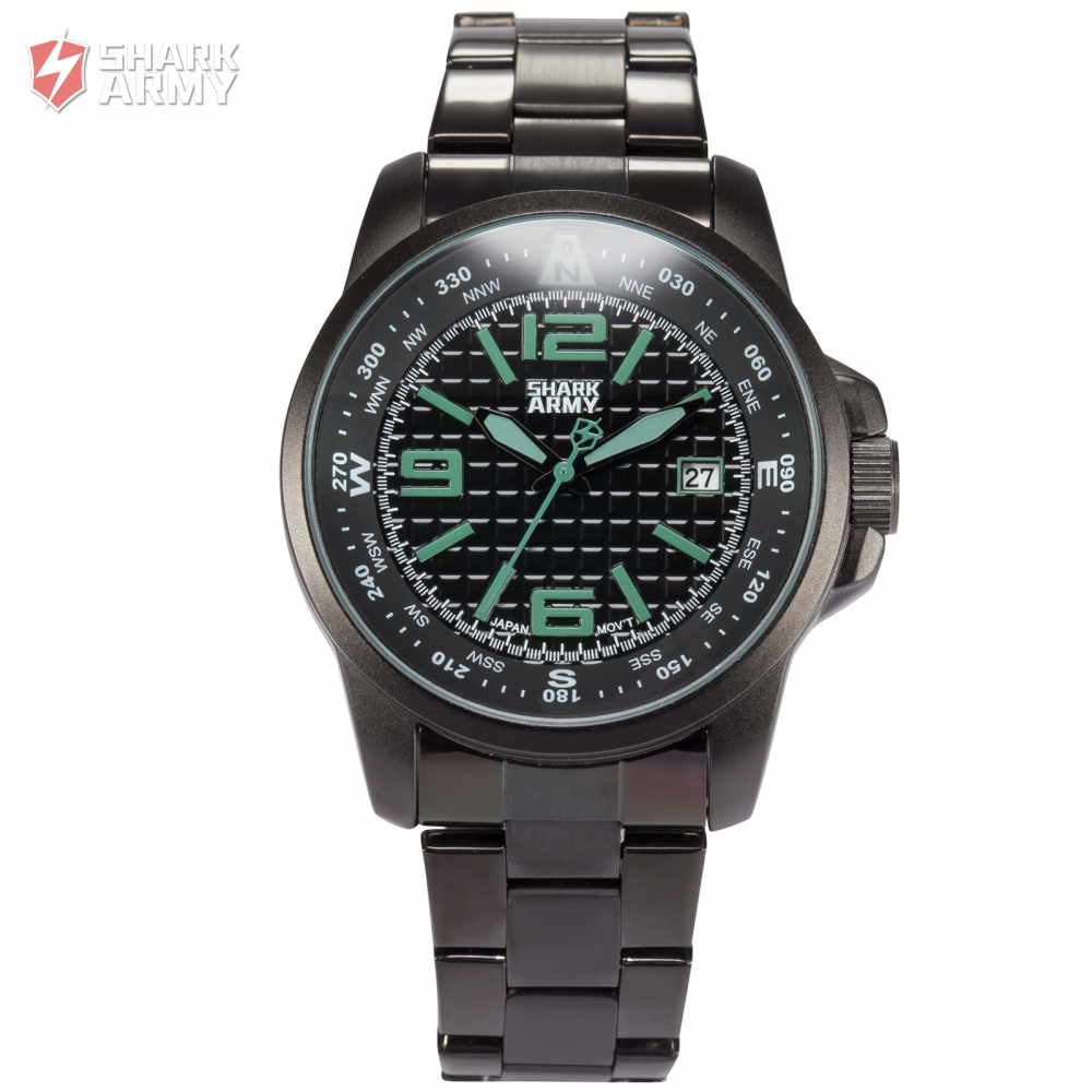 Shark Army Stainless Steel Strap Relogio Masculino Black Green Auto Date Display Quartz Clock Tag Heuer Mens Watches / SAW134<br>