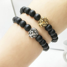 Zoeber 2017 new Antique Buddha Leo Lion Head Bracelet Black Lava Stone Beaded animal Bracelets For Men Women Pulseras