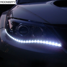 MOONBIFFY Waterproof Car Auto Decorative Flexible LED Strip HighPower 12V 30cm 15SMD Daytime Running Light Car LED Strip Light