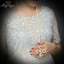 Mytys Pearl Beaded Chain Long Necklace for Women 2017 New Design Sweater Chain CN303(China)