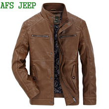 AFS JEEP Leisure High quality brand Trendy Locomotive Faux Leather men PU Jacket ,men's leather jacket, mens leather jackets 145(China)