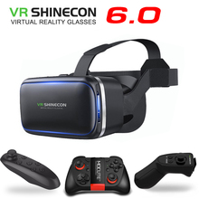 Original VR Shinecon 6.0 Virtual Reality 3D Glasses Cardboard VRBOX Helmet For 4.3-6.0 inch Smartphone With Wireless Controller(China)