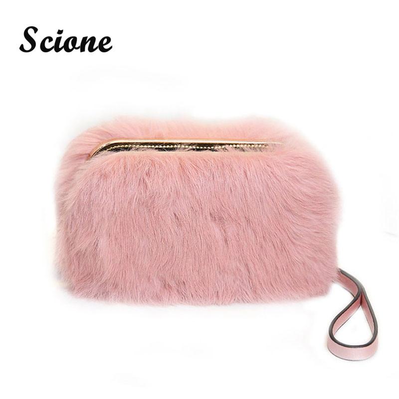 2017 Women Rabbit Fur Clutches Purses Fashion Black Evening Bags Pink Banquet Bag Party Wallet Cute Grey Wedding Handbag JXY669<br><br>Aliexpress