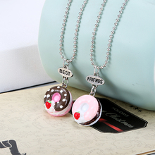 New Arrive Set Of 2 BFF Necklaces Chocolate Donut Resin Pendant On Bead Chain Necklace For kids Jewelry()