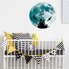 30cm 3D Large Moon Fluorescent Wall Sticker Removable Glow In The Dark Sticker 2017 NEW Luminous wall stickers for kids rooms(China)