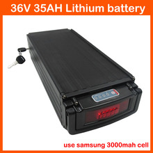 free shipping 36V 35AH Electric Bike Battery 36V Rear rack lithium battery Use samsung 3000mah cell with Tail lights 2A charger(China)