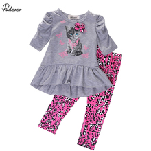 2017 new year hello kitty set Kids Baby Girls clothes clothing sets Cat Printed T-shirt Tops Dress+Leopard Pants Outfits Set(China)