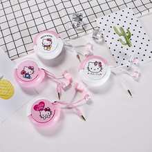 Cartoon Hello Kitty Music in ear earphone 3.5mm Wired Stereo Earphone with Mic for iphone xiaomi samrtphone Mp3 Player
