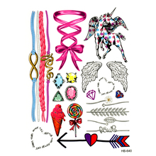 20pcs Cupid Temporary Tattoo cute lovely unicorn tattoo Water Transfer fake Angel wings tattoo Flash bow Tattoo for kids girl