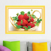 DIY Diamond Painting Cross Stitch Diamond Embroidery Mosaic Magic Cube Fruit Series Painting A Basket of Strawberries Restaurant