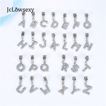 Jclowsexy European Letter Of The Alphabet Silver Plated Beads Charm Fit Women Pandora Bracelets & Bangles Necklace DIY Jewelry(China)
