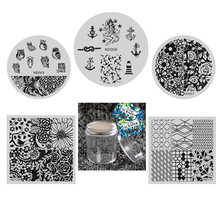 NICOLE DIARY Nail Art Stamp Template Set Flower Lines Animal Image Stamping Plate with Stamper and 2 Scrapers