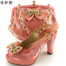 New Arrival Peach Color Afircan Women Matching Italian Shoe and Bag Set Decorated with Rhinestone Italian Shoe with Matching Bag