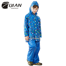 QIAN RAINPROOF Impermeable Raincoat For Children Lovely Kids Rainwear Elastic Hood Pattern Print Rain Coat Kids Rain Gear Poncho