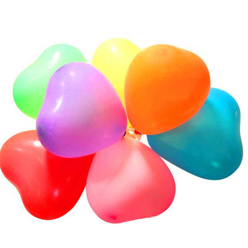 100Pcs/Pack Inflatable 1.5g Romantic Colourful Balloons For Valentines Day Birthday Party Decoration Love Heart Helium Balloon(China)