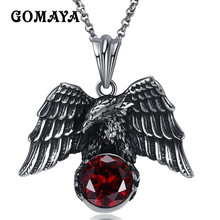 GOMAYA Antique Silver Plated Animal Eagle Pendant Necklace Biker Jewellery Mens Fashion Party Animal Jewelry 2017(China)