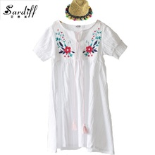 2017 Summer Kids Short Sleeve Girls Cotton Dress For Girl Embroidery Flower with Tassel Straw Hat Dresses Casual Fashion Style