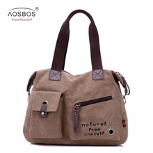 Aosbos Men Canvas Messenger Bag Women Fashion Tote bag Crossbody Bag Zipper Large Capacity Handbags for Male Female Shoulder Bag(China)