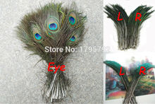 Wholesale 50pcs 30-35cm Natural Peacock Sword Feather and 50pcs 25-30cm Natural Peacock Feather Eyes Wedding Decoration Carft(China)