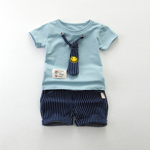 heat! 2017 new summer baby clothing set boy fashion fake suit set 100% cotton T shirt + pants 2 sets 1-3 years free shipping