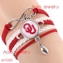 6Pcs/Lot NCAAF Oklahoma Sooners Glass Cabochons Bracelet College Football Team Bracelet New Infinity Bracelet Drop Shipping!