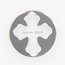 16mm Steel Color Round shape Unique Style Cross Pendant Window Plates for Floating Lockets XH294-1
