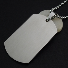 Men's Military Army Matt Silver Stainless Steel Blank Dog Tag Charm Key Chain Pendant Necklace 60CM Long