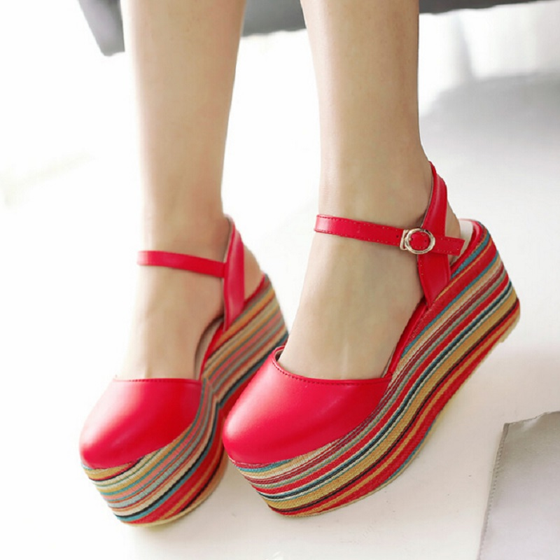 Fashion Chunky Round Toe Caged Summer Women Shoes Colorful Straw Sweet Dating Platform Shoes High Heel  Sandals Women Size11.5<br>