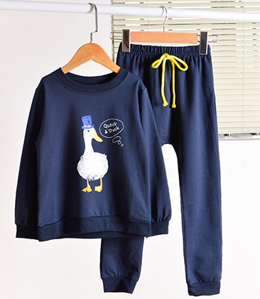 2016 children Girls 2pcs sets of print duck navy blue pullover two sets of large children s pants of children clothes set <br><br>Aliexpress