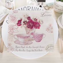 Limited Edition Rose Flowers Vase Teacup Napkins Cafe & Party Tissue Napkins Decoupage Decoration Paper 33cm*33cm 20pcs/pack/lot(China)
