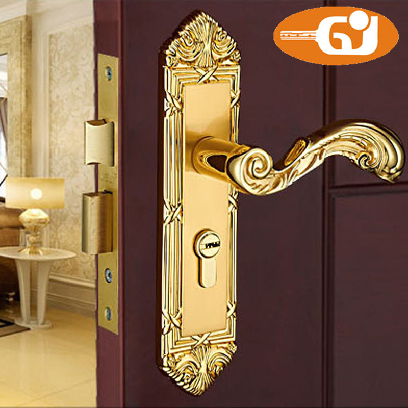 Heavy Weight Real Golden 24K Door Lock For Home Wooden Door <br>