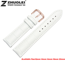 White Watch band 12mm 14mm 16mm 18mm 20mm NEW Men Ladies Genuine Leather Watch Band Strap Bracelets Rose Gold Depolyment Clasp