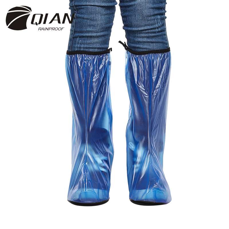 QIAN RAINPROOF 2017 New Fashionable High-top PVC Rain Shoes Covers Men Thicken Non-slip Portable Overshoes Waterproof Boots
