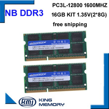 KEMBONA high quality and speed sodimm laptop ram DDR3L 16GB(kit of 2pcs ddr3 8gb) PC3-12800 204pin ram memory 1.35v and 1.5v(China)