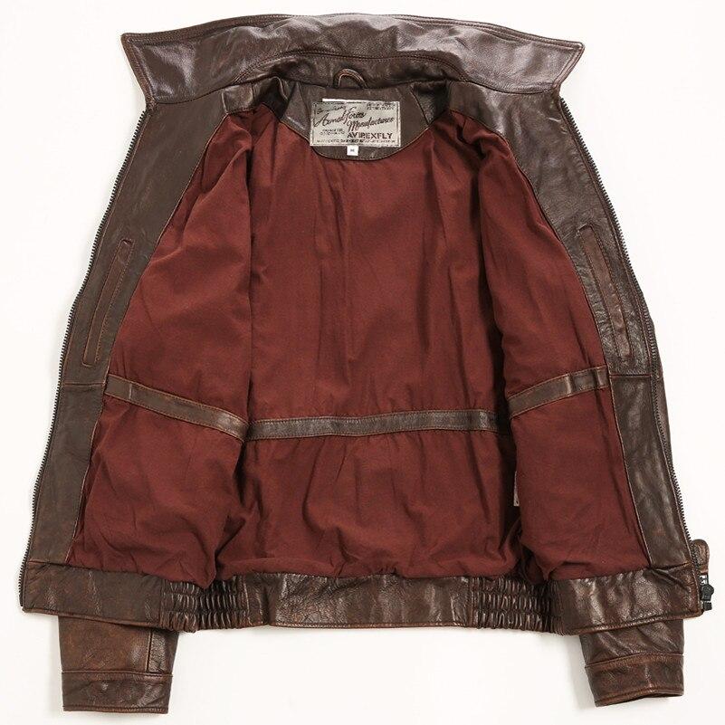 Avirex fly vintage badge leather bomber jacket men pattern flight jacket motorcycle genuine lether jacket men brown leather coat