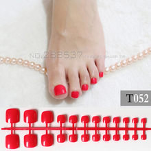 Candy DIY Fashion  Colors Toe Nails 24pcs Acrylic False Toes Art Tips Fake Toenails lovely red T052