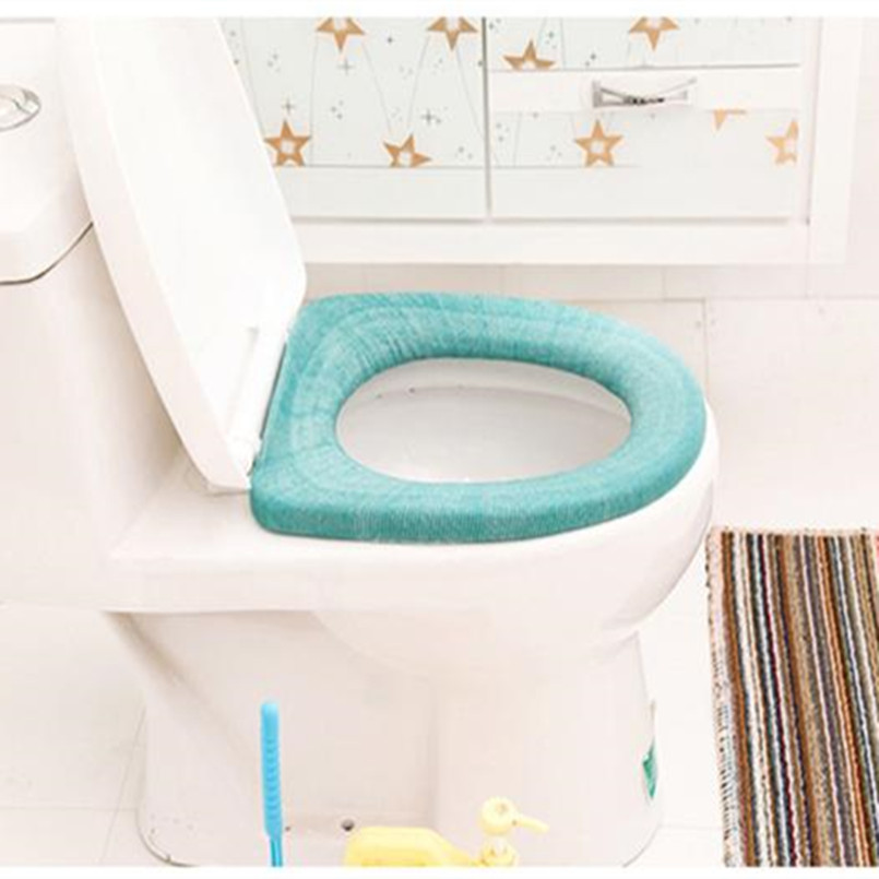 Blue Happy nest Toilet Seat Cover Toilet Pad Soft Thicker Warmer Washable Toilet Seat Cover Pad