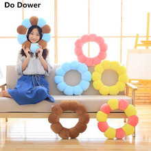 2017 NEW Donut creative multifunctional pillow for siesta pillow spandex sun flower neck pillow cushion chair cushion(China)