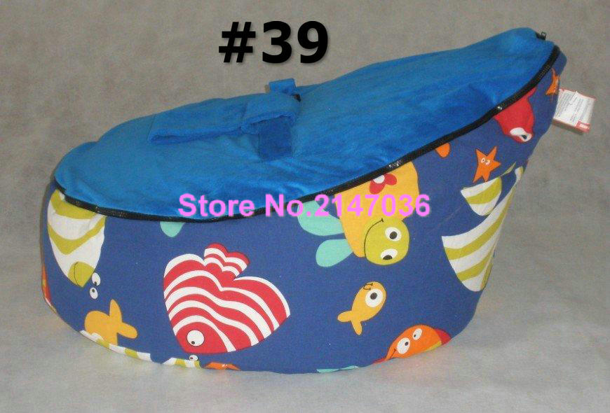 100% cotton soft baby bean bag chair in Seaworld fish pattern, 2 upper tops kids beanbag snuggle pods - deep nap chair<br>