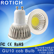 Super Bright GU 10 Bulbs Light Dimmable Led Warm/White 85-265V 5W 7W 10W GU10 COB LED lamp light GU 10 led Spotlight